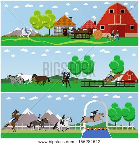 Vector banners of horse riding. Equestrian sport, amateur riding, american rodeo, training and dressage, show jumping. Flat design