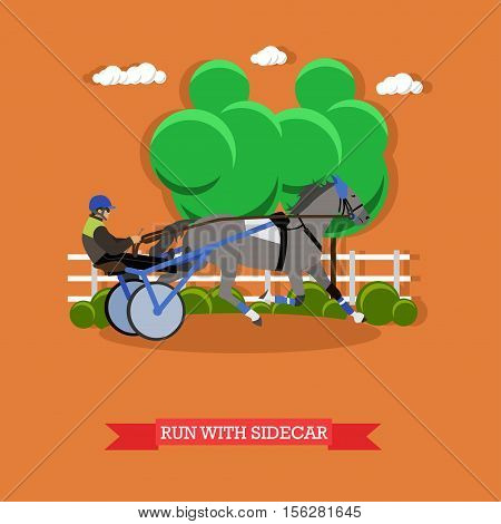 Jockey controls horse in the horse cart, holding the reins, driving whip. Equestrian sport. Vector illustration in flat design