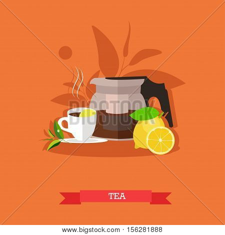 Vector illustration of modern glass teapot with freshly brewed tea, cup of hot, flavour tea and fresh, ripe lemon with slices. Popular drink for morning. Flat design
