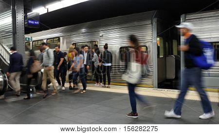 Passengers Get Off Sydney Trains At Town Hall Railway Station In Sydney, Australia.