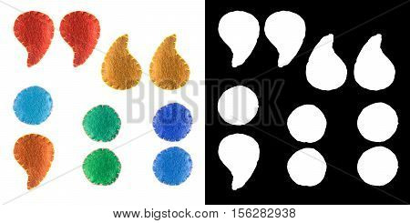 Handmade punctuation marks from felt. Collection of colorful handmade English alphabet isolate on white background with alpha mask