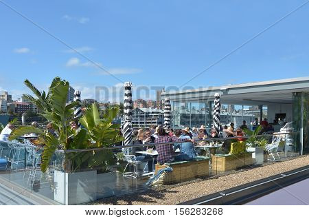 Australian People Dinning Outdoors In Sydney New South Wales Australia