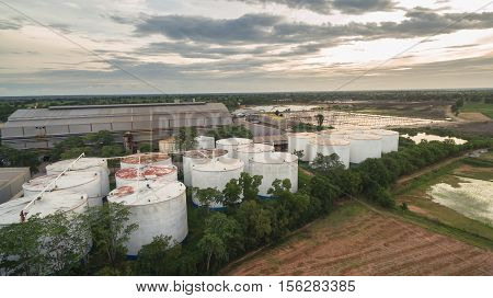 aerial view of sewage treatment landscape .
