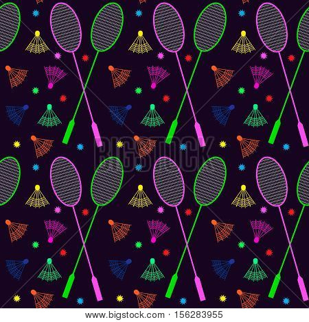 Seamless background with rackets and shuttlecocks. Badminton.
