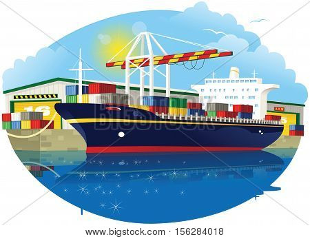 A small container ship docked at a container port.