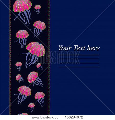 Templates with the colored jellyfish for your cards and invitations. Vertical seamless pattern of the colored jellyfish on a dark background. Abstract medusa.