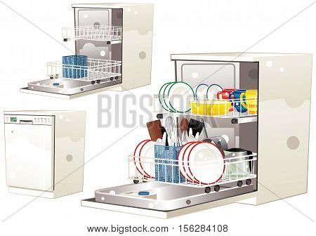 Three unique drawings of a typical dishwasher, one empty, one loaded and one shut.