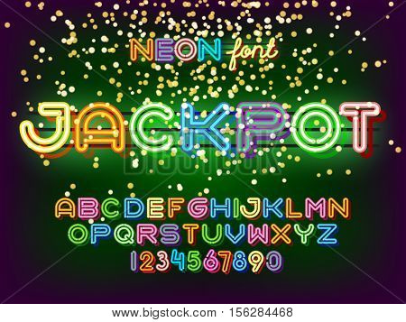 Jackpot casino lettering. Neon Light Alphabet Vector Font. Neon tube letters on dark glow green background