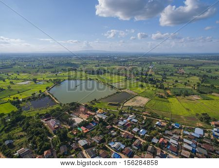 aerial landscape country village thailand . .