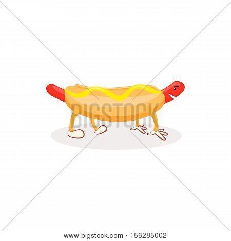 Cartoon Hotdog with mustard. Hot dog isolated on white background
