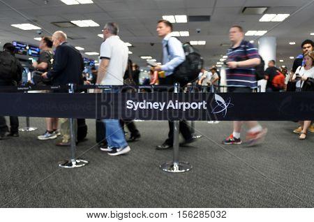 Passengers At Sydney Airport Sydney, Australia
