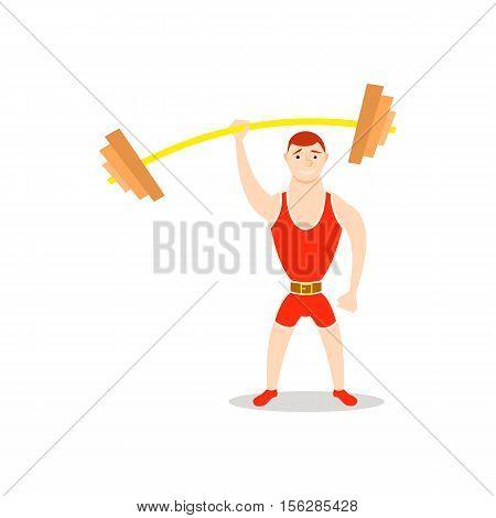 Cartoon man barbell exercises squat, deadlift, overhead press. Weight lifting illustration. Cute athlete