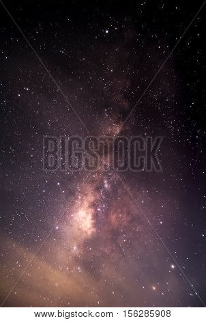 Milky Way galaxy pointing on a bright star background