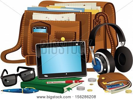An illustration of a leather bag and its contents, including a touchscreen tablet, headphones and wallet.