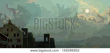 cartoon sky background with clouds and old abandoned houses