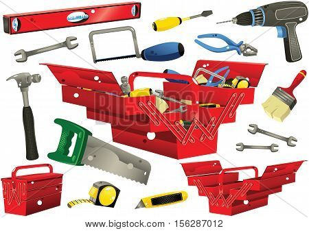 Illustrations of various do-it-yourself hand tools including electric drill, brush and hammer.