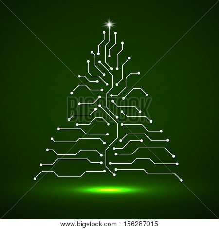 Abstract technology Christmas tree, circuit board, vector
