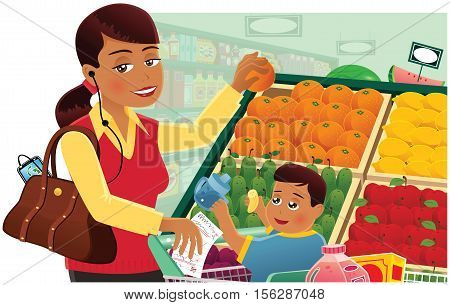 An image of a young mother and her child busy grocery shopping in a store.