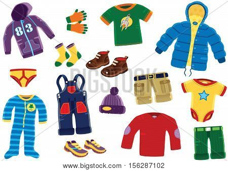 Various illustrations of clothing that a young boy would wear, including dungarees, leather shoes and hooded top.