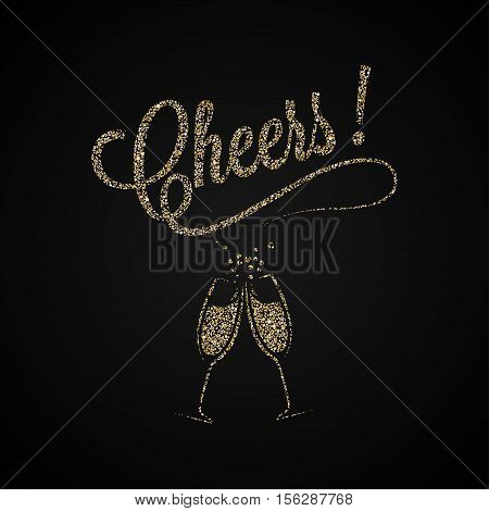 Cheers Vintage Lettering. Gold Champagne Background. 8 eps