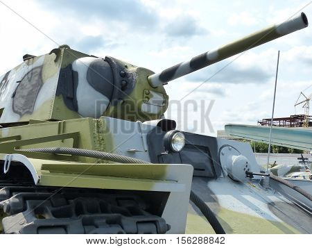 Upper Pyshma, Russia - July 2, 2016: Soviet medium Tank T-34-76 arr. 1940 of times of World War II  - exhibit of a of the Museum of Military Equipment. Interior of the Museum of military. 1941-1945,  II World War