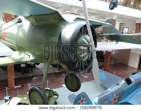 Upper Pyshma, Russia - July 02, 2016: Soviet fighter aircraft I-15 - exhibit of the Museum of military equipment. Interior of the Museum of military. 1941-1945,  II World War.