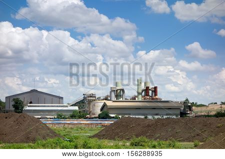 old factory with blue sky landscape background.