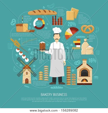 Bakery business concept with male baker fresh products oven and windmill flat vector illustration