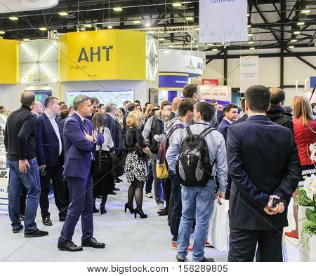 St. Petersburg, Russia - 4 October, A crowd of people at the gas forum, 4 October, 2016. Petersburg Gas Forum which takes place in Expoforum.