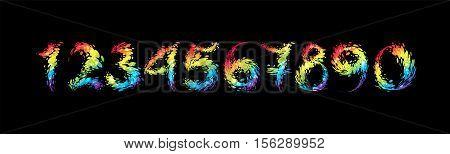 Set bright number on black background vector illustration