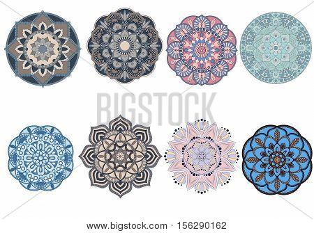 Set Of Colorful Mandalas. Decorative Round Ornaments. Anti-stress Therapy Patterns. Weave Design Ele