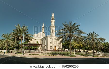 DUBAI UNITED ARAB EMIRATES - NOVEMBER 08 2016: Jumeirah Mosque. It is the only mosque in Dubai open to public.