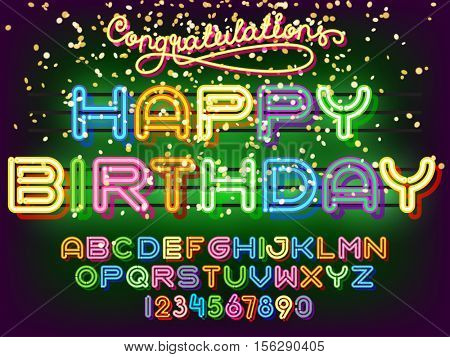 Happy Birthday lettering. Neon congratulations Light Alphabet Vector Font. Neon tube letters on dark glow green background
