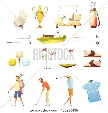 Golf players and accessories retro cartoon icons collection with putting flags gloves and trophy isolated vector illustration