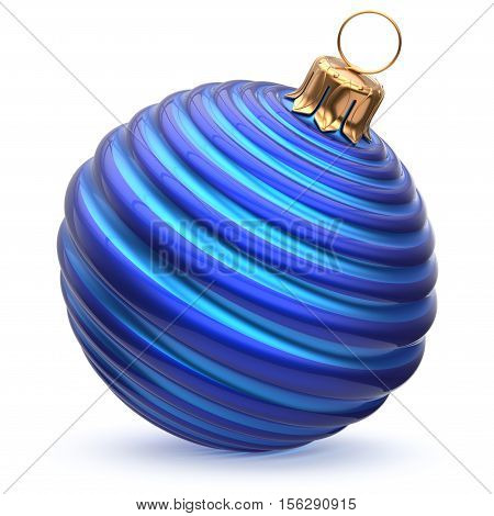 Christmas ball blue cyan New Year's Eve decoration striped bauble wintertime hanging adornment waved souvenir. Traditional ornament happy winter holidays Merry Xmas symbol closeup. 3d illustration