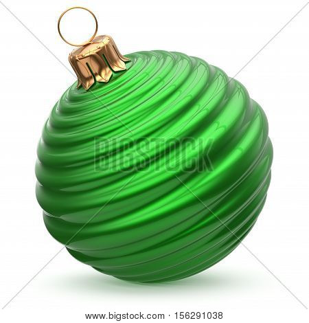 Christmas ball New Year's Eve decoration green stylish bauble wintertime hanging adornment waved shiny souvenir. Traditional ornament happy winter holidays Merry Xmas symbol closeup. 3d illustration