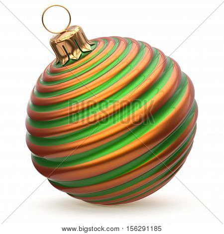 Christmas ball striped green orange New Year's Eve decoration bauble wintertime hanging adornment waved souvenir. Traditional ornament happy winter holidays Merry Xmas symbol closeup. 3d illustration