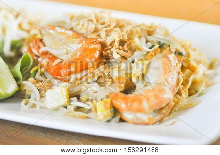 pad Thai or stir-fried noodle with shrimp dish (Thai food)