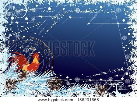 vector New Year 2017 background with rooster and clock