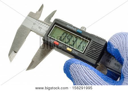 Digital caliper in the master's hand in a glove on the white background