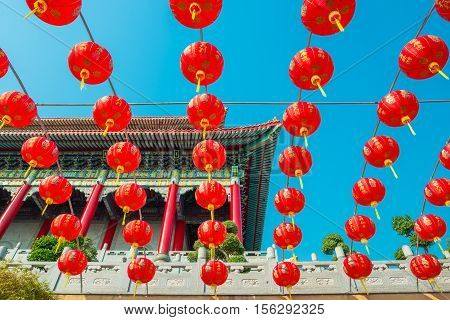 Chinese Temple Against Blue Sky In Thailand.