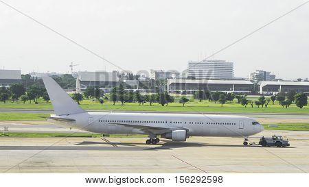Air plane is taking off from ground of airport