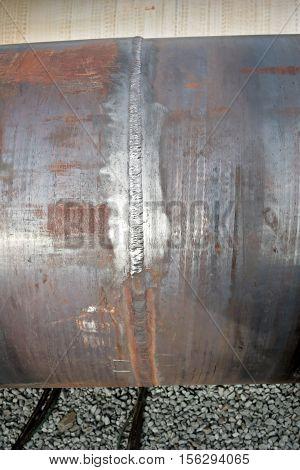 Welded Seam On A Pipe Of Large Diameter Chromemolybdenum Steel