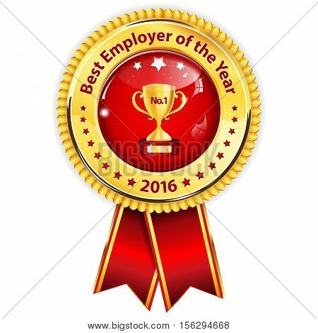 Best employer of the year 2016 business award ribbon. Golden red colors distinction with champions cup.