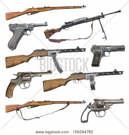 set of antique firearms weapons. pistols rifles machine guns isolated on white background