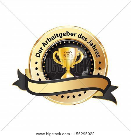 Best Employer of the year (German language) - business elegant icon / ribbon award distinction for companies.