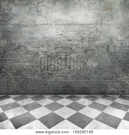 Grunge brick textured rustic wall and checked floor square photo