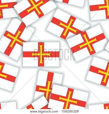Guernsey - Seamless Pattern Collage Of Flags With Shadows On A White Background