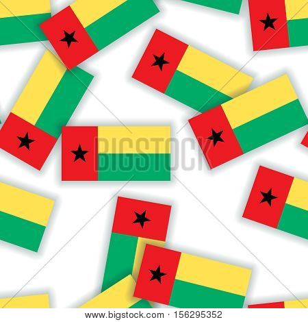 Guinea-bissau - Seamless Pattern Collage Of Flags With Shadows On A White Background