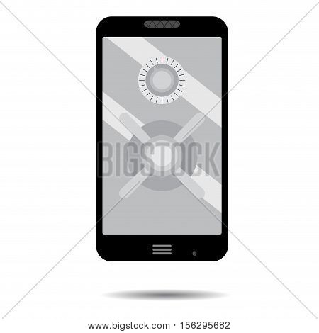 Phone security safe. Smartphone security and phone lock mobile security vector phone safe illustration